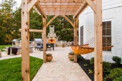 Outdoor patio design, pergola over walkway in Clarksville MD