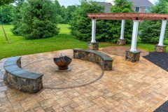 Outdoor patio installation in Ellicott City, Fire Pit Paukstis