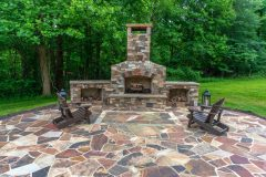 Outdoor patio installation of fireplace, Calure, in Glenwood MD