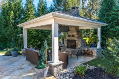 Fireplace Cashman, outdoor pavilion and patio installation