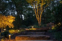 outdoor lighting on stone step pathway