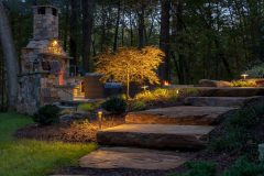 outdoor lighting on stone step pathway patio design