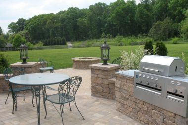 Outdoor patio installation in Clarksville MD with a grill