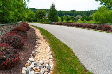 Road with hardscaping