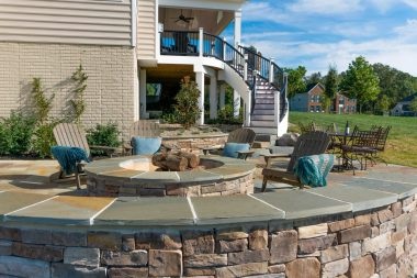retaining wall patio and fire pit