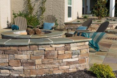 Retaining wall by outdoor patio