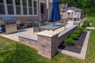 Hardscaping in Ellicott City, retaining walls around patio