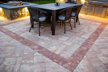 Outdoor Patio Installation with outdoor lighting