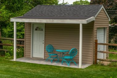 Shed with outdoor patio installation in Glenwood MD
