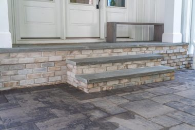 Outdoor patio installation in Dayton, MD, with steps