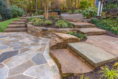 Outdoor patio design with steps in Sykesville