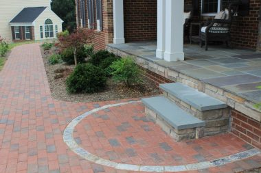Outdoor patio design in Ellicott City, with walkway and steps