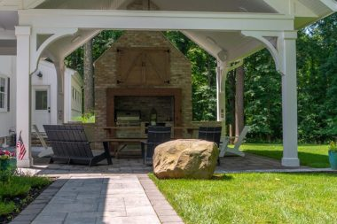 Outdoor patio installation, walkway, pavillion, and fireplace, Adler