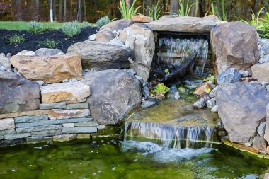 Water feature landscape installation in Dayton