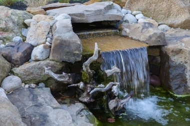 Water feature and hardscaping close up