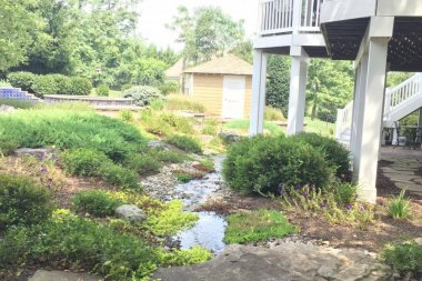 Landscape design in Ellicott City with water feature