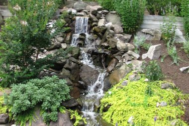 Water feature landscape installation in West Friendship
