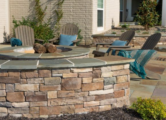 Retaining wall in Sykesville for patio and fire pit outdoor sitting area